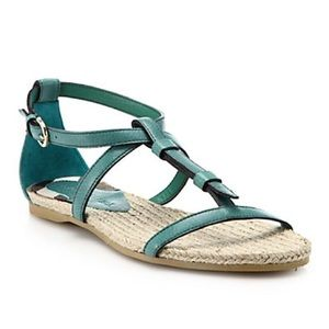 BURBERRY Green Westerdale Leather Sandals